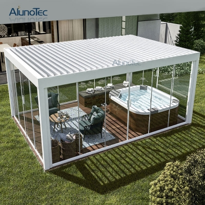 Aluminum Garden  Outdoor Bioclimatic Pergola louvred Roof With Screens And Lights
