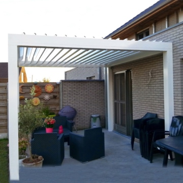 Sunshade Patio Roof White Bioclimatic Modern Louvers Outdoor Waterproof Pergola With Led Lights