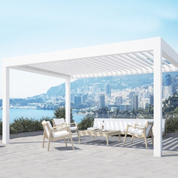 2020 electric waterproof bioclimatic retractable roof  pergola with PVC fabric for house