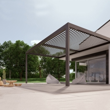 modern metal opening roof electric pergola