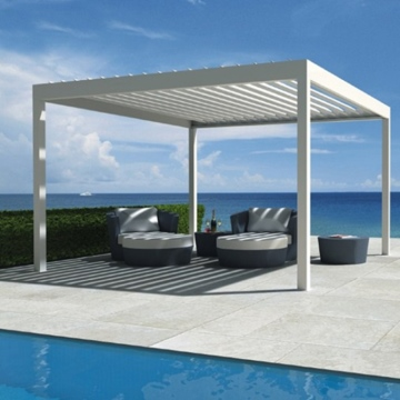 Aluminum Motorized Pergola Waterproof Sunshade Garden Pavilion Gazebo With Louvre