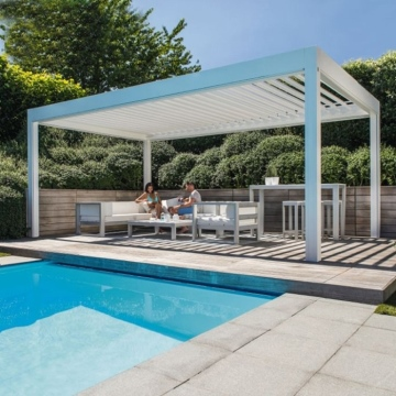 IP 67 Waterproof Bioclimatic Pergola Motorized louvred Roof with Rolling Blind