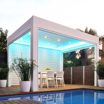Freestanding & Wall Mounted Sunshade Rainproof Aluminium Louver Pergola Roof Outdoor For Living Areas