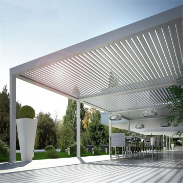 Luxury sun rain protection garden outdoor metal decorative aluminum roof louvre pergola