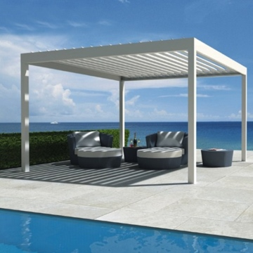 Custom weatherproof sunshade motorized louver roof pergola