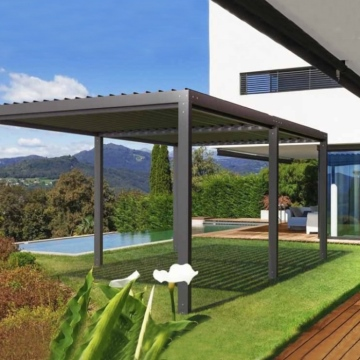 Bio-climatic waterproof pergolas louvered roof with telescopic roller blind