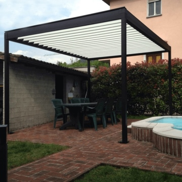 High quality remote control sun shutter motorized system garden gazebo aluminium pergola louvre roof