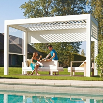 Easily assembled modern patio louvered aluminum pergola roof designs