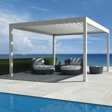 Factory adjustable waterproof covers louvered roof sun shading modern pergola kits aluminium