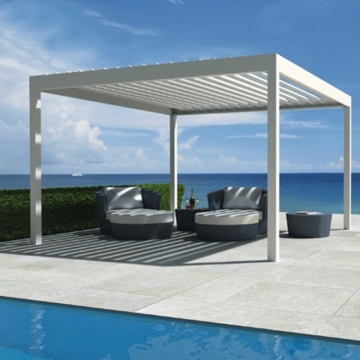 Garden bioclimatic pergola kits with rotating louver roof