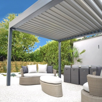 Outdoor patio cover motorized louver roof pergola waterproof