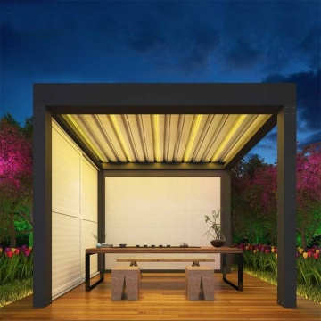 Freestanding Australian Motorized Open and Close Bioclimate Louver Pergola With Lights