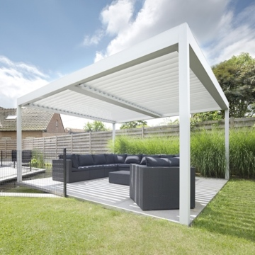 Outdoor Bioclimatic Motorized Aluminum Pergola With Adjustable Louvers