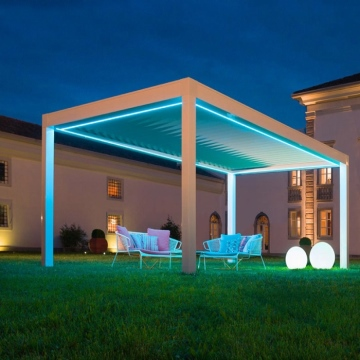 Automatic louvered shading electric pergola roof