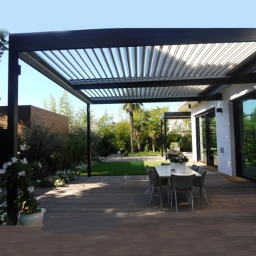 Automatic Opening Louver Free Standing Aluminium Deck Pergola Roof System For Home