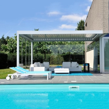 Remote controlled motorised boclimatic pergola aluminium louvre roof