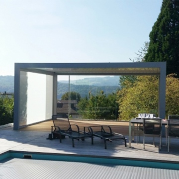 Waterproof pergolas modern system with electric roof