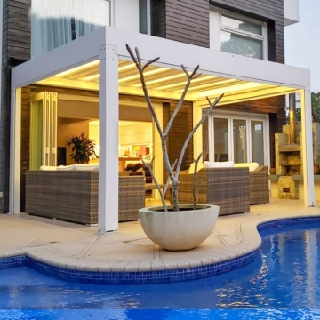 Garden Furniture Customize Size Waterproof Sunshade Electric Aluminium Pergola With Side Curtains