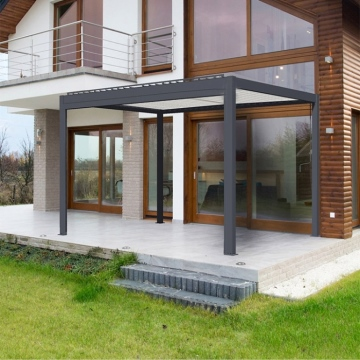 Outdoor Furtiture Rainproof Aluminum Louvre Roof Motorized Pergola With Side Curtains