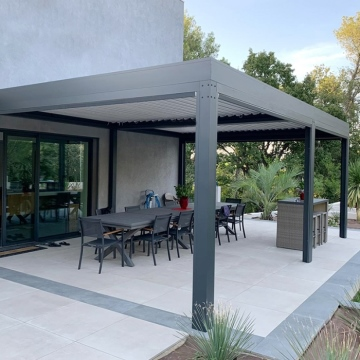 Morden Aluminum Pergola Electric Opening Louvre Roof For Garden Courtyard