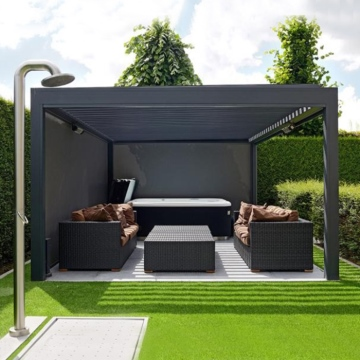 Electric bioclimatic aluminum louvered roof pergola for garden