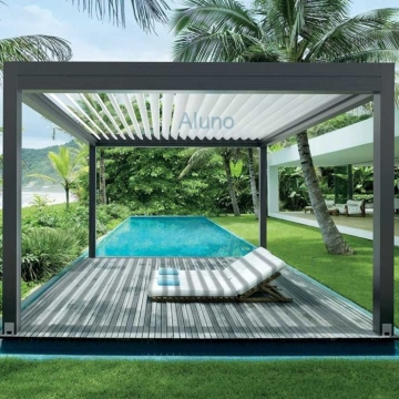 Customized freestanding motorized bioclimatique aluminium pergola for garden