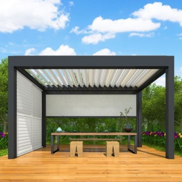 5x5m Garden decorations waterproof aluminum profile patio pergola covers motorised roof