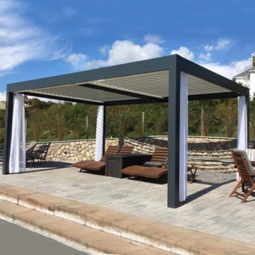 Professional Design Outdoor Chinese  Gazebo Pergola Aluminum Pergola With Side Screen