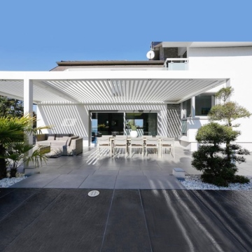 Modern white aluminum automatic attached pergola system