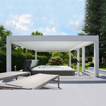 Modern Electric Roof Louve Swimming Pool And Gazebo Exterior Outdoor Pergola