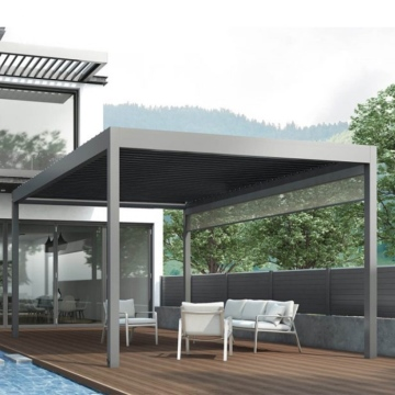 2020 Hot sale outdoor waterproof  sunshade retractable   PVC Pergola Roof Awning with glass sliding doors and LED light