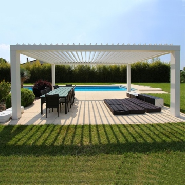 Outdoor modern garden sunshade DIY 5x5m  motorized lights  wooden patio white aluminum pergola parts louver pergolas