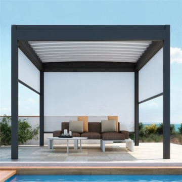 Factory Directly Sell Garden Furniture electric aluminum Pergola Metal Frame Opening Louvre Roof