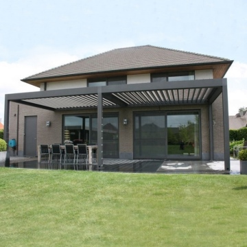 Modern terrace covering in matt anthracite of 8.06 x 4.0 meters with opal polycarbonate