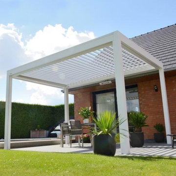 Outdoor Wall Mounted Bioclimatic Waterproof Louver Pavilion System Aluminium Pergola