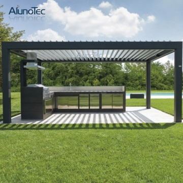 Customize Foldable Aluminum Awning Sunshade Pergola With Led Light
