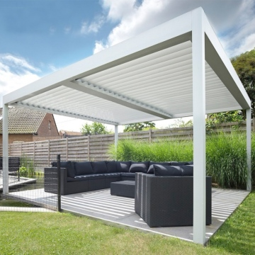 Topwindow Outdoor Aluminum Motorized Waterproof Covers Sunshade Louvered Roof Gazebo Pergola With Louvre