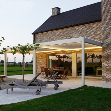 Motorized Waterproof Outdoor Aluminium Pergola Morden Gazebo With Adjustable Louvers gazebos pergolas and gazebos outdoor