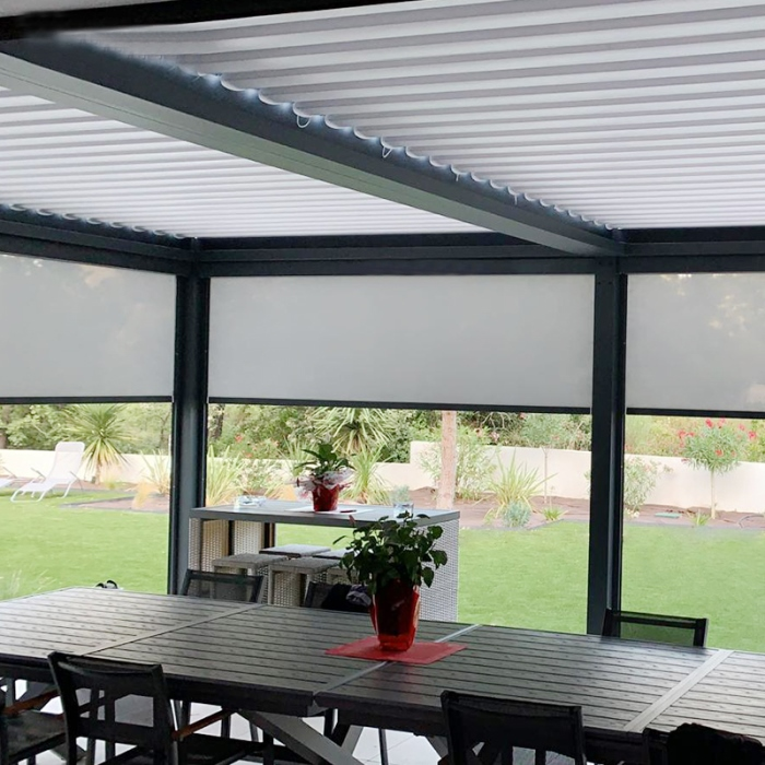 Automatic terrace opening louvre roof aluminium outdoor modern bioclimatic pergola