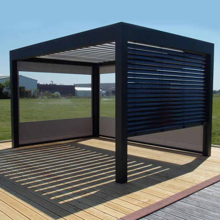 Customized colors patio louver roof intelligent diy pavilion outdoor gazebo garden