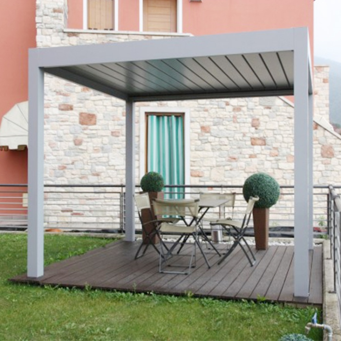 Electric Patio Awnings Outdoor Louvered Roof System Aluminium Gazebo Bioclimatic Pergola
