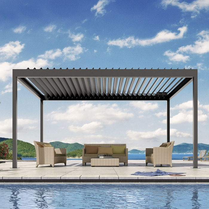 Motorized Waterproof Aluminum Louver Pergola Opening Roof System Pergola System With Led Light